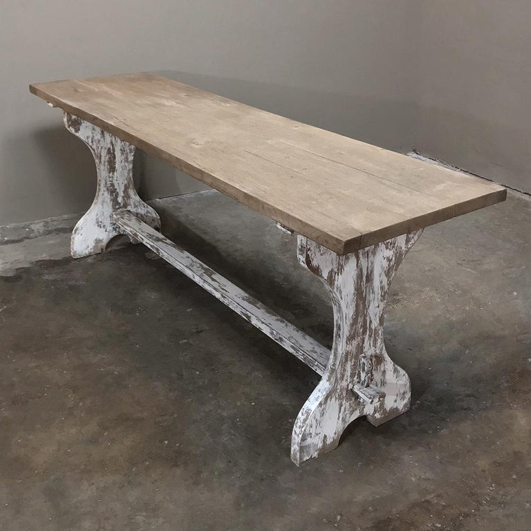 Antique Rustic Painted Country French Trestle Table, Sofa Table For Sale 6