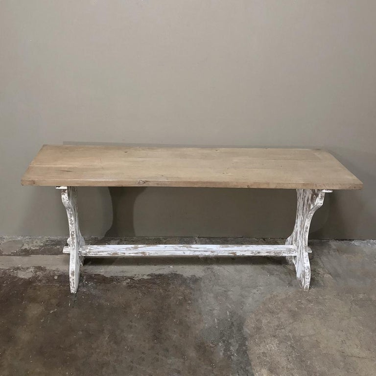 Antique Rustic Painted Country French Trestle Table, Sofa Table For Sale 7