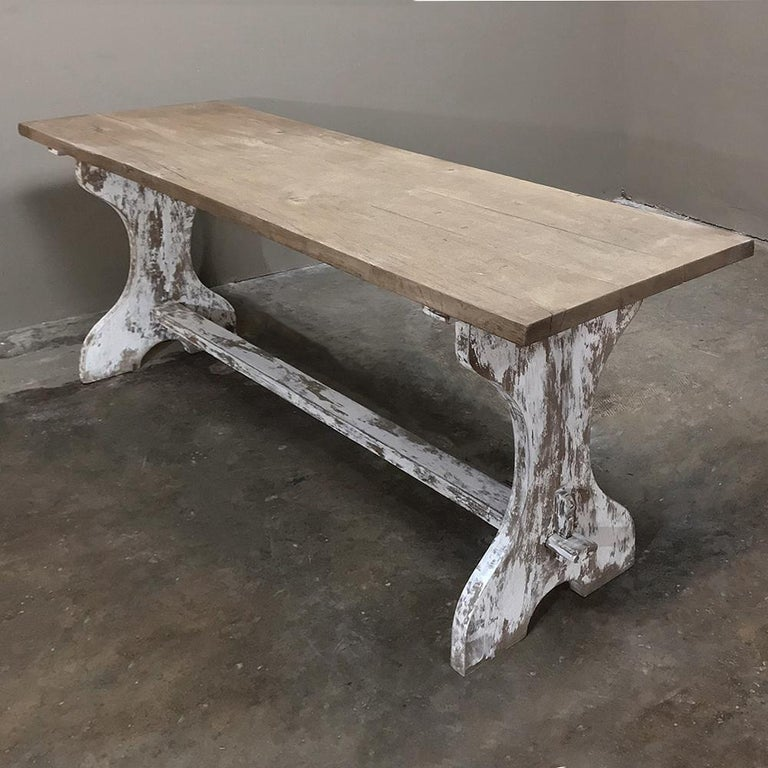Hand-Painted Antique Rustic Painted Country French Trestle Table, Sofa Table For Sale