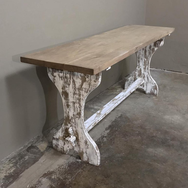 Antique Rustic Painted Country French Trestle Table, Sofa Table In Good Condition For Sale In Dallas, TX