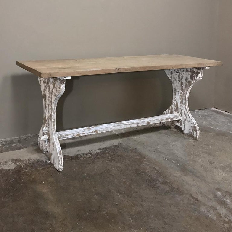 20th Century Antique Rustic Painted Country French Trestle Table, Sofa Table For Sale