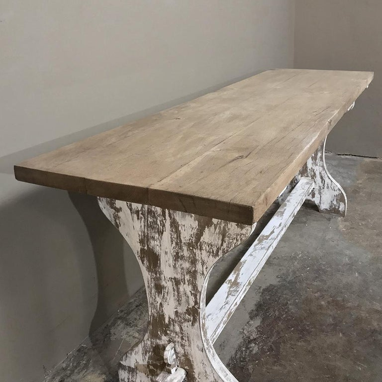 Oak Antique Rustic Painted Country French Trestle Table, Sofa Table For Sale