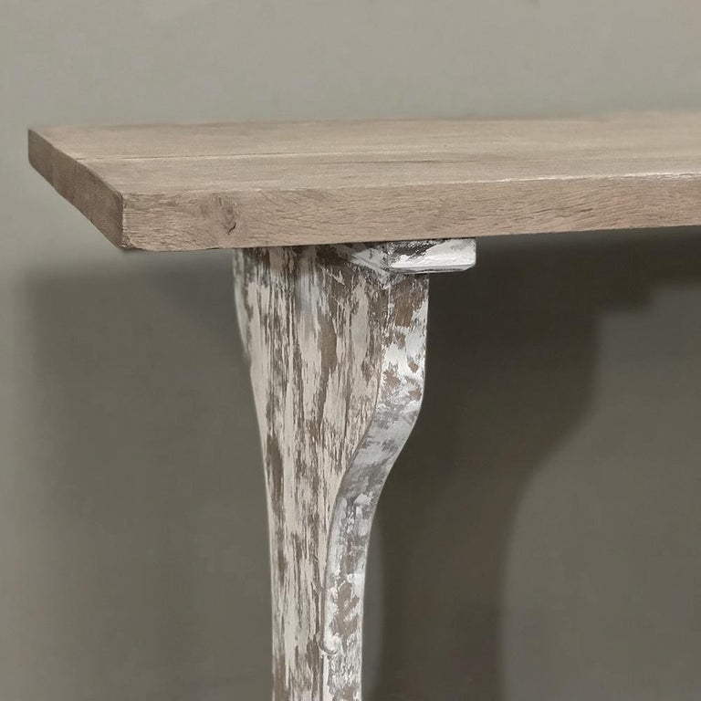 Antique Rustic Painted Country French Trestle Table, Sofa Table For Sale 2