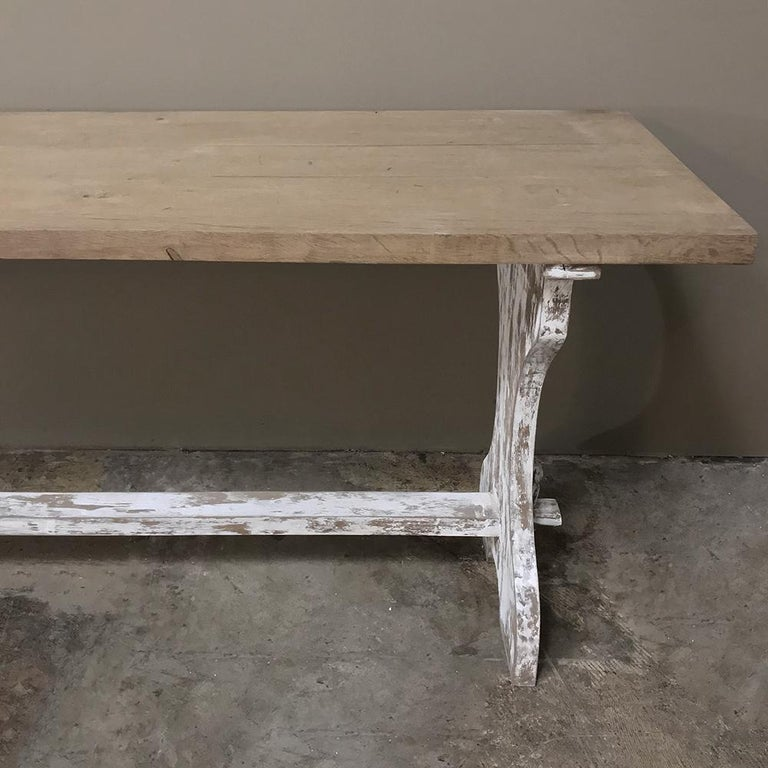 Antique Rustic Painted Country French Trestle Table, Sofa Table For Sale 3