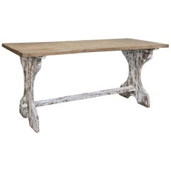 Antique Rustic Painted Country French Trestle Table, Sofa Table