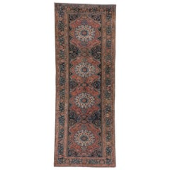 Antique Rustic Persian Bakhtiary Gallery Carpet, Rose and Blue Field