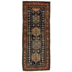Antique Rustic Persian Hamadan Wide Runner, Navy Field, Rust Borders, Circa 1930