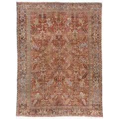 Antique Rustic Persian Heriz Carpet, circa 1920s