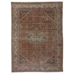 Antique Rustic Persian Mahal Carpet