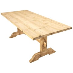 Antique Rustic Pine Trestle Table