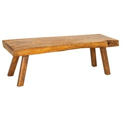 Antique Rustic Slab Wood Coffee Table with Splay Legs
