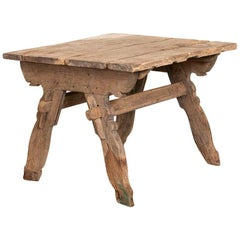 Antique Rustic Square Farm Kitchen Table Work Table