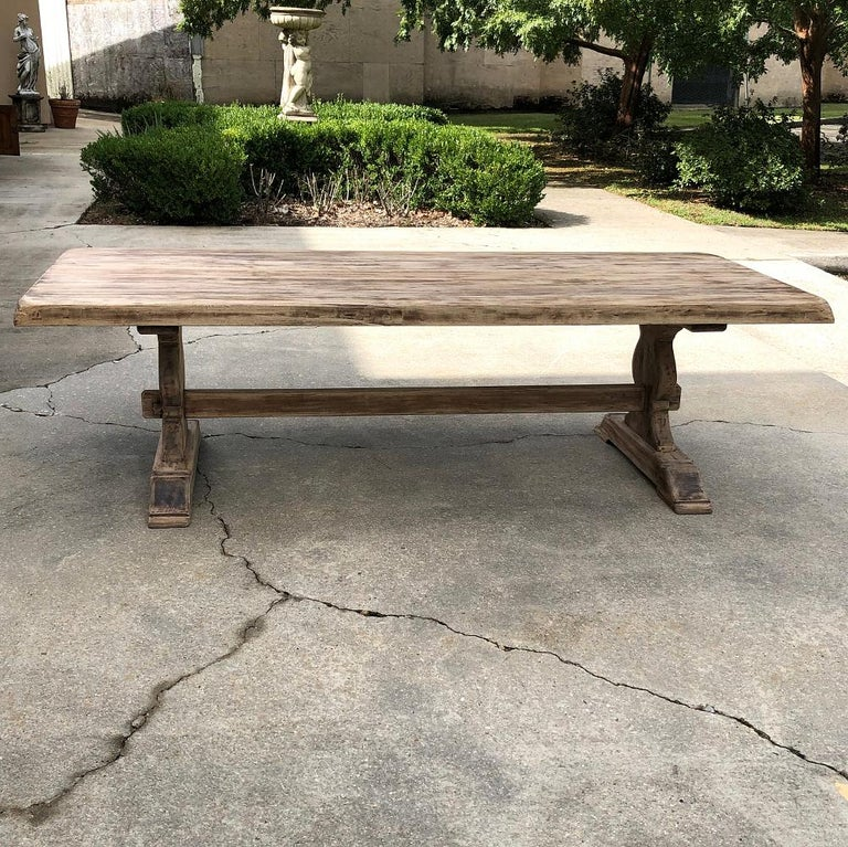 Hand-Crafted Antique Rustic Stripped Sycamore Trestle Table For Sale