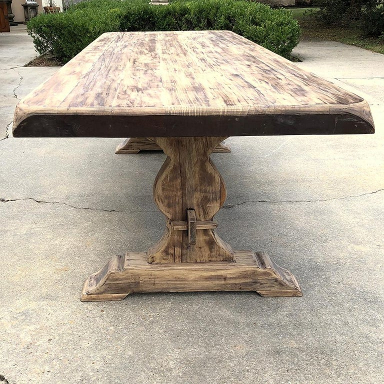 20th Century Antique Rustic Stripped Sycamore Trestle Table For Sale