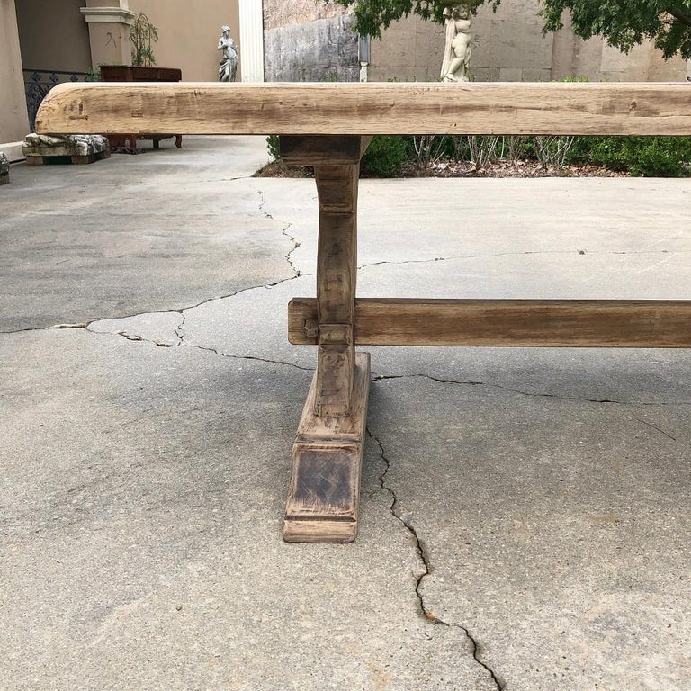 Antique Rustic Stripped Sycamore Trestle Table For Sale 3