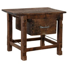 Antique Rustic Swedish Work Table with Large Single Drawer