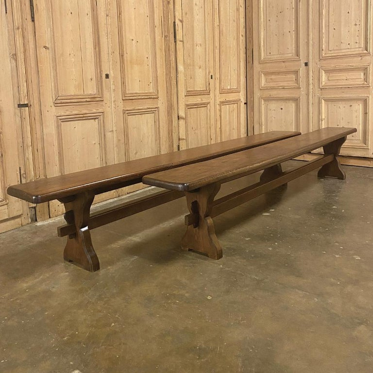 Antique Rustic Trestle Table includes Two Benches For Sale 3