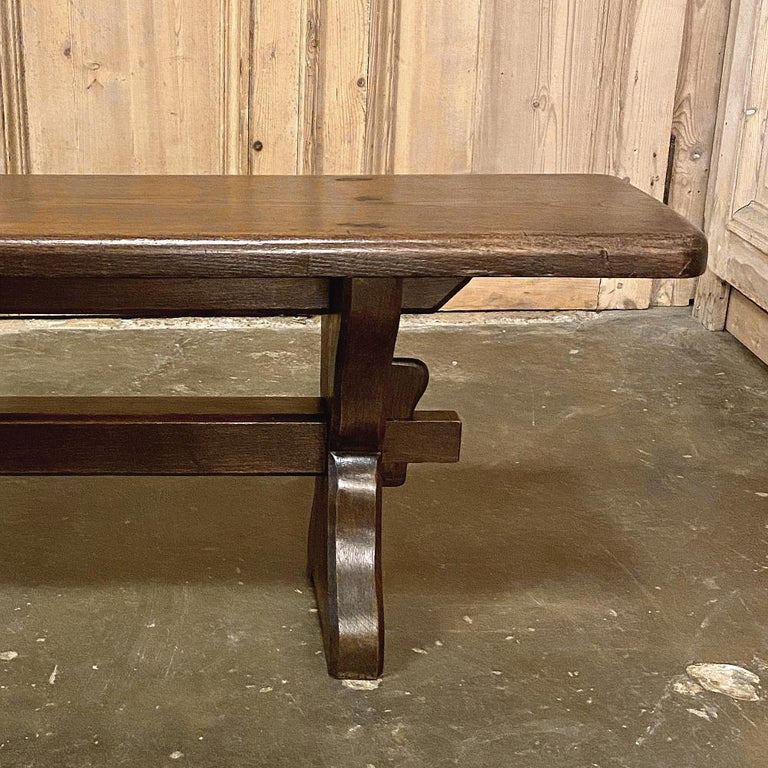 Antique Rustic Trestle Table includes Two Benches For Sale 5