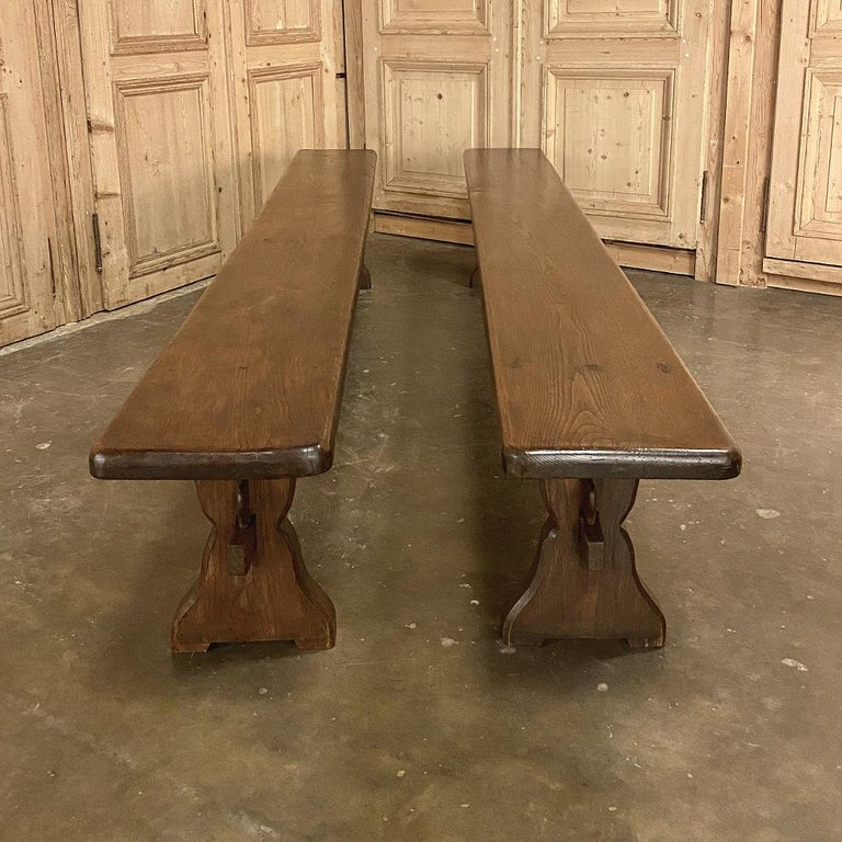 Antique Rustic Trestle Table includes Two Benches For Sale 6