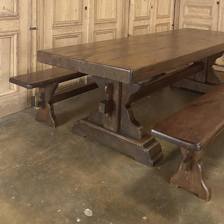 French Antique Rustic Trestle Table includes Two Benches For Sale