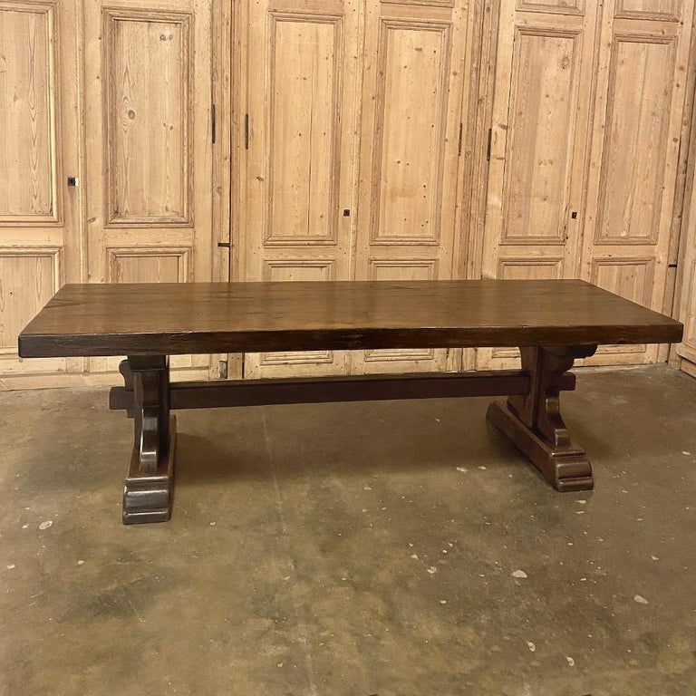 20th Century Antique Rustic Trestle Table includes Two Benches For Sale