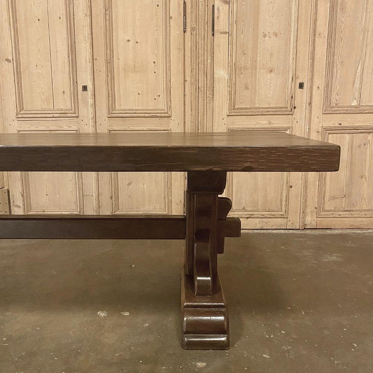 Sycamore Antique Rustic Trestle Table includes Two Benches For Sale