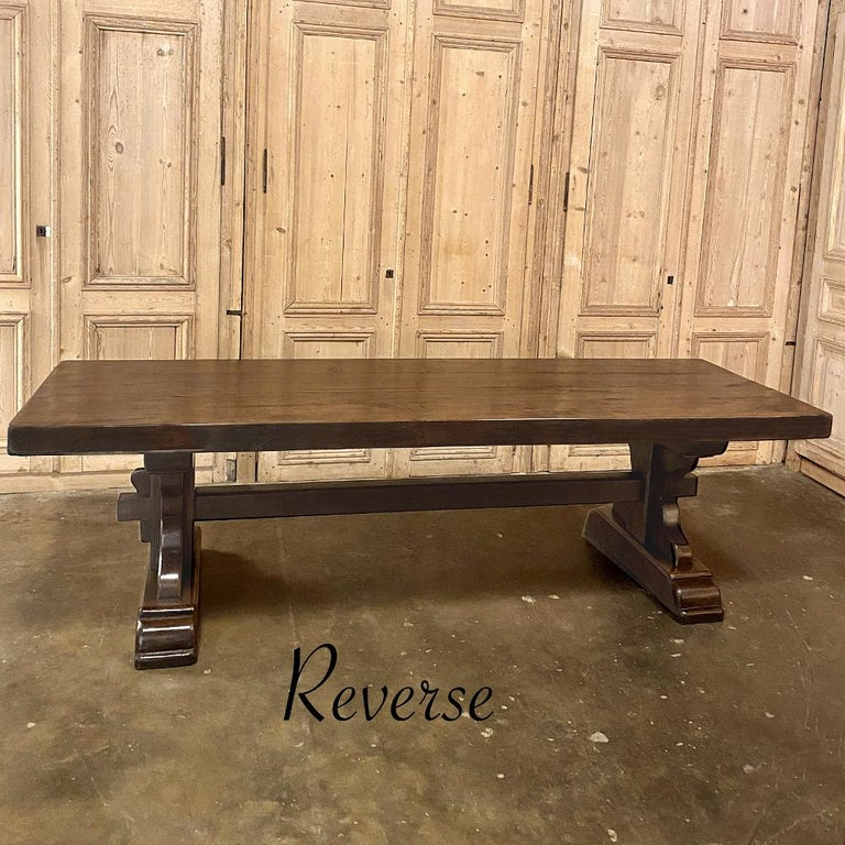 Antique Rustic Trestle Table includes Two Benches For Sale 2