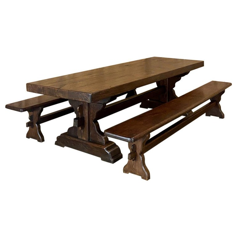 Antique Rustic Trestle Table includes Two Benches For Sale