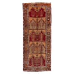 Antique Rustic Turkish Anatolian Gallery Carpet, Warm Colors, circa 1930s
