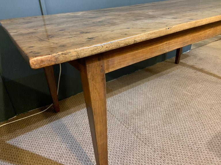 French Antique Rustic Wide Pale Cherry Farmhouse Table