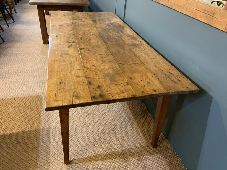Hand-Crafted Antique Rustic Wide Pale Cherry Farmhouse Table
