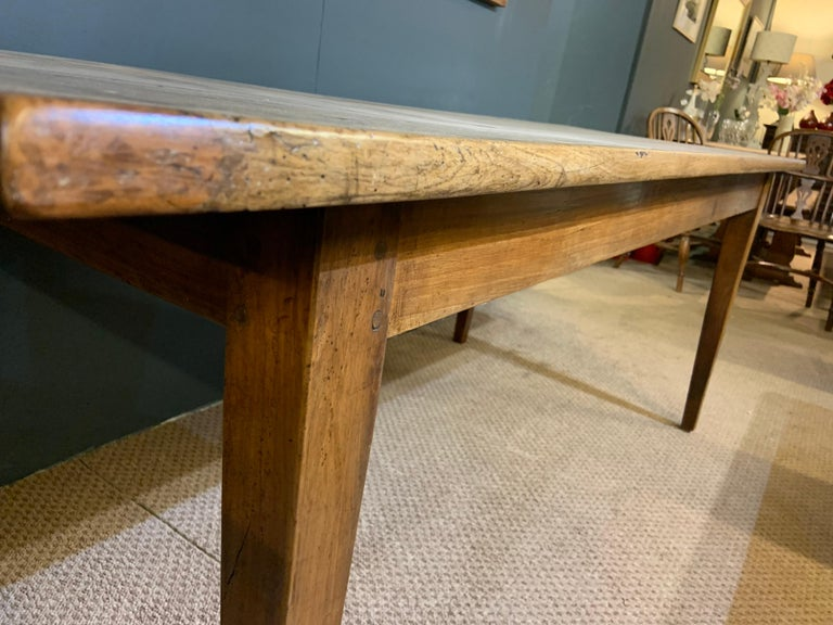 Antique Rustic Wide Pale Cherry Farmhouse Table In Good Condition In Billingshurst, GB