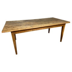 Antique Rustic Wide Pale Cherry Farmhouse Table