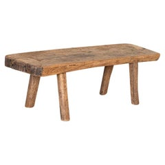 Antique Rustic Wood Coffee Table with Thick Top, Peg Legs