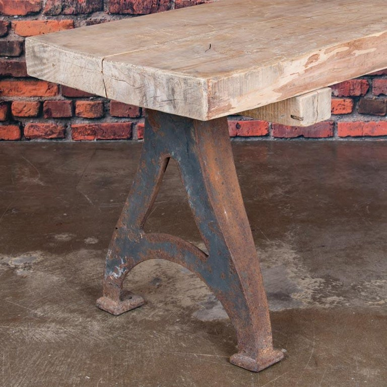 Antique Rustic Wood Console Table With Industrial Cast