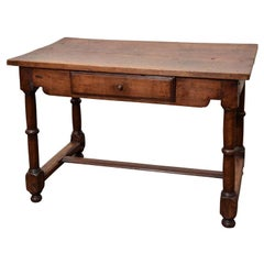 Antique Rustic Wood Table with Single Drawer, France, c. 19th Century