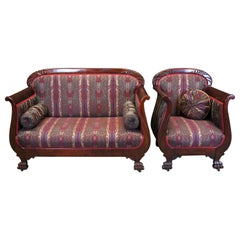 Antique S. Karpen & Brothers American Empire Mahogany Parlor Settee & Chair Set