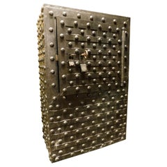Antique Safe Strongbox in Wood and Black Iron, Studs and Nails, Late 1600, Italy