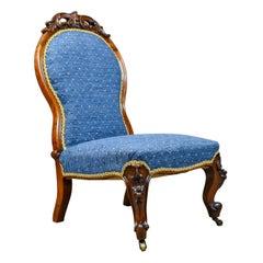 Antique Salon Chair, English, Early Victorian, Walnut, Nursing, circa 1840