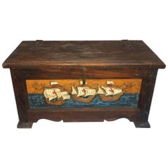Antique Salt Cedar Chest, Hand Carved Painted Spanish Red Cross Galleon Ships