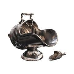 Antique Salt Cellar, English, Silver Plate, Server, Miniature Scuttle, Victorian