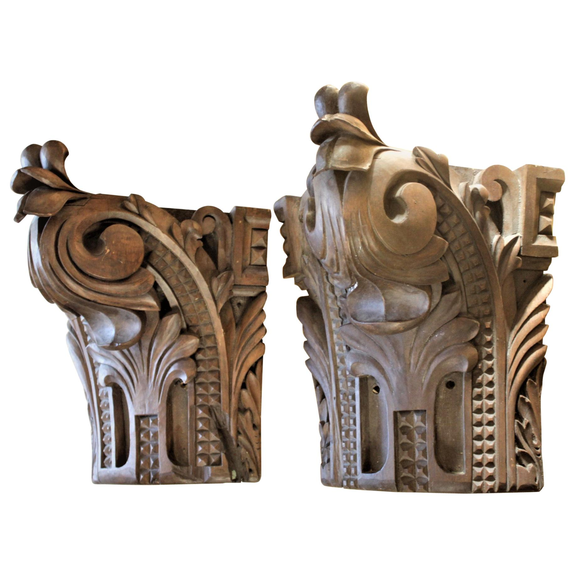 Antique Salvaged Carved Wooden Architectural Wall Brackets, Corbels or Shelves