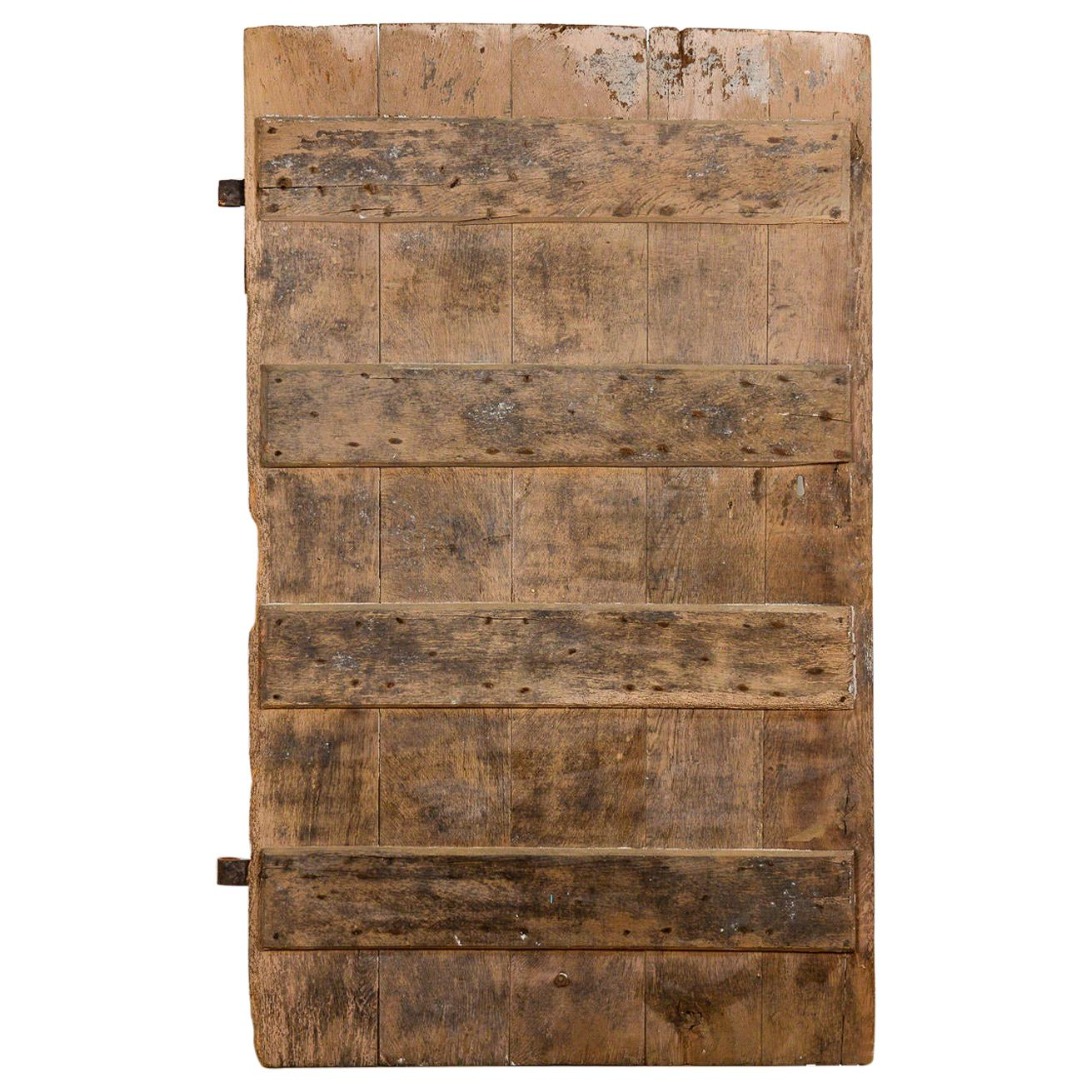 Antique Salvaged Oak Door with Iron Hinges, 20th Century