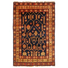 Antique Samarkand Khotan Traditional Red and Blue Wool Rug