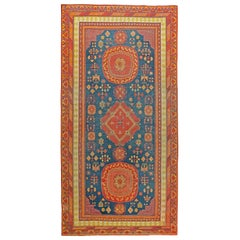 Antique Samarkand Red and Blue Hand Knotted Wool Rug