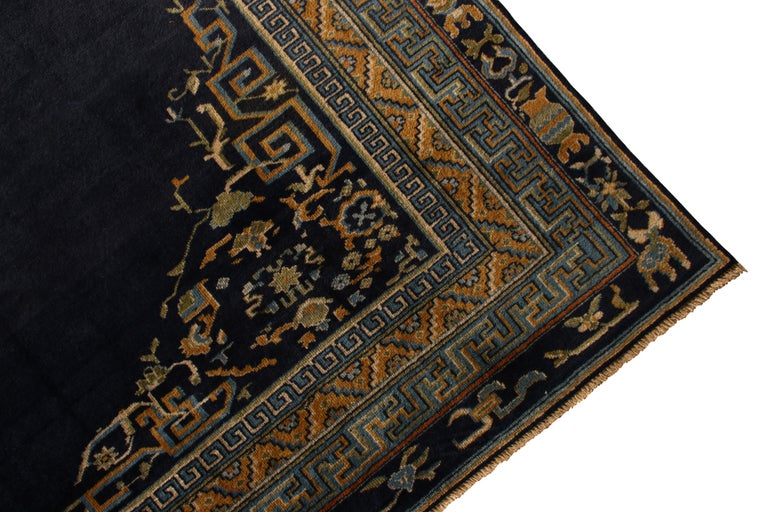 Hand-Knotted  Antique Samarkand Rug Art Deco Blue and Gold Pattern For Sale