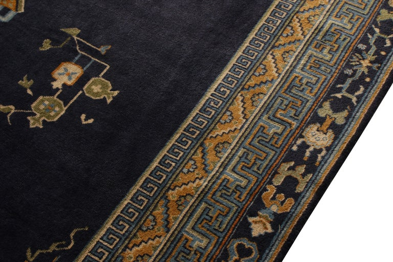 Antique Samarkand Rug Art Deco Blue and Gold Pattern In Good Condition For Sale In Long Island City, NY