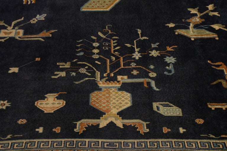 Early 20th Century  Antique Samarkand Rug Art Deco Blue and Gold Pattern For Sale