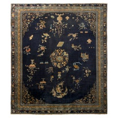 Antique Samarkand Rug Art Deco Blue and Gold Pattern