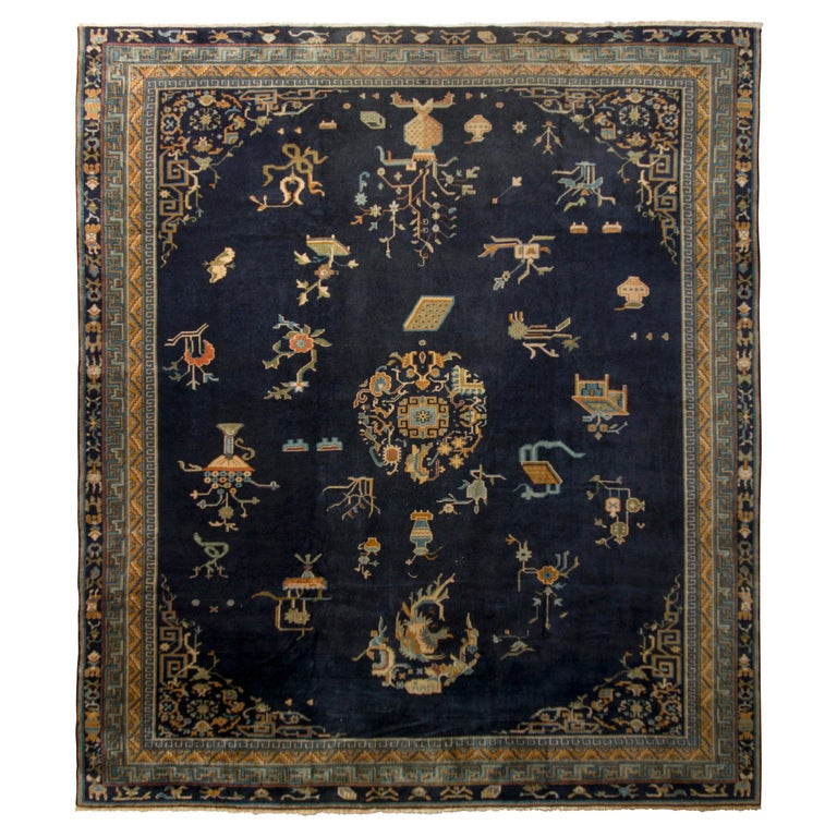 Antique Samarkand Rug Art Deco Blue and Gold Pattern For Sale